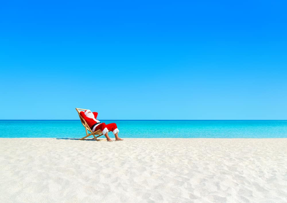 The best reasons to holiday abroad at Christmas: Santa on the beach