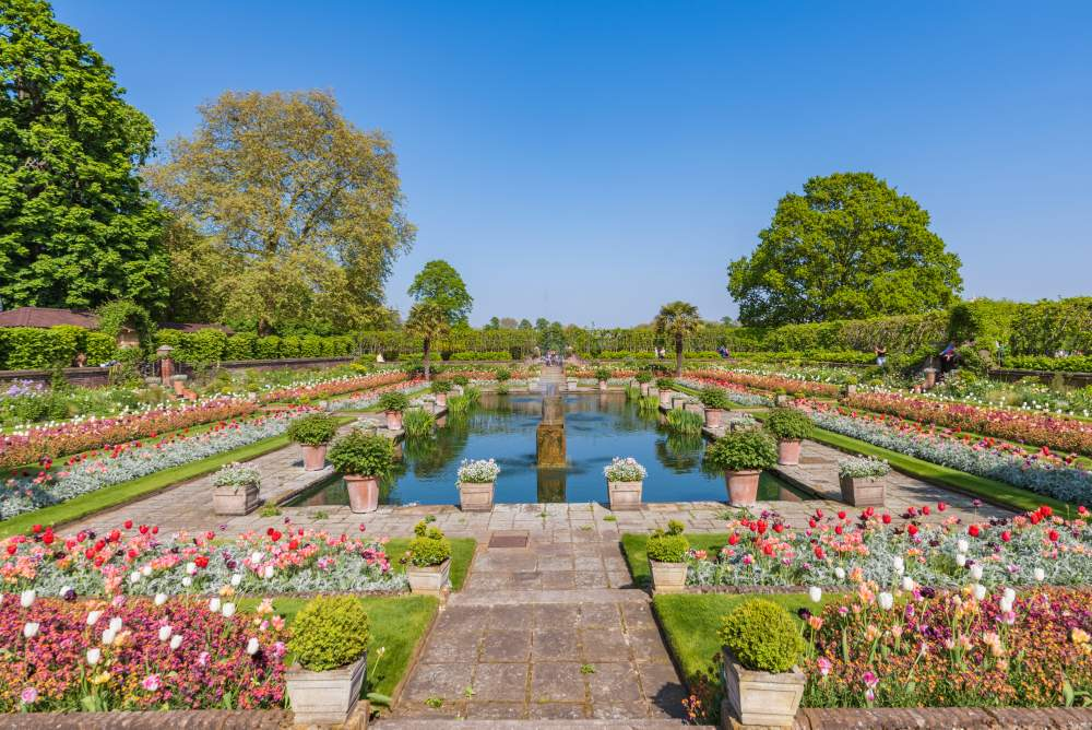 Gardens of Kensington Palace in London
