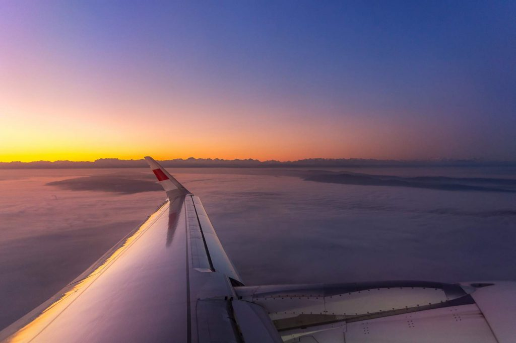 Sunrise view from plane window in ourTop Tips for Travelling with COPD