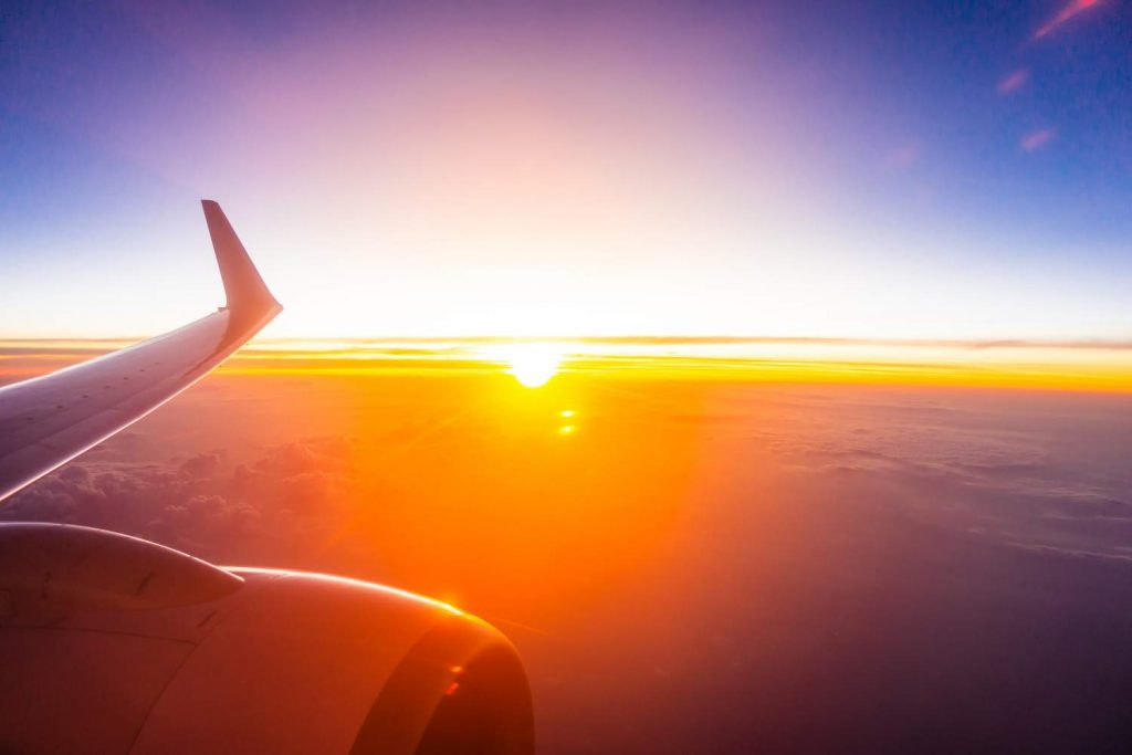 Travelling with High Cholesterol: view of sunrise from plane window