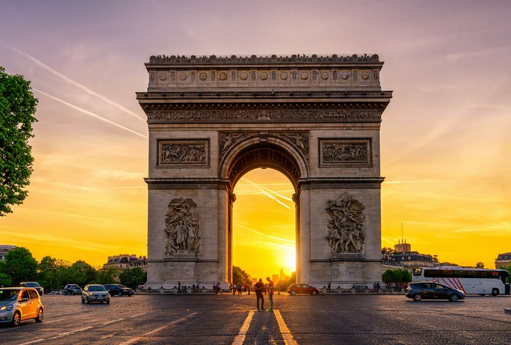 Paris Arc de Triomphe in Chaps Elysees, Paris, France where you can mark Remembrance Day 2019