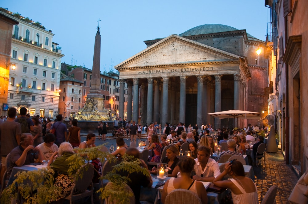 dinner at night outside the famous Pantheon in Rome