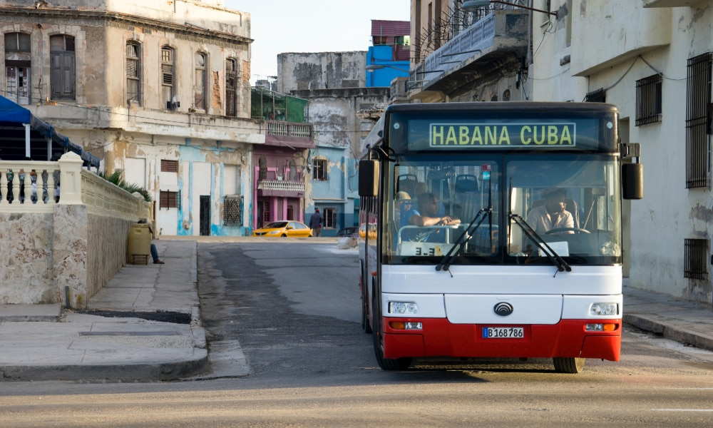Cuba for the over 50s traveller: A bus in Havana