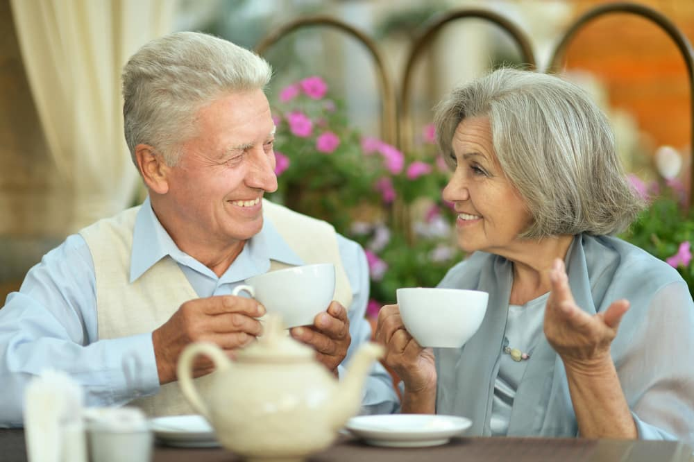 10 things that make a great British holiday: an elderly couple drinking tea