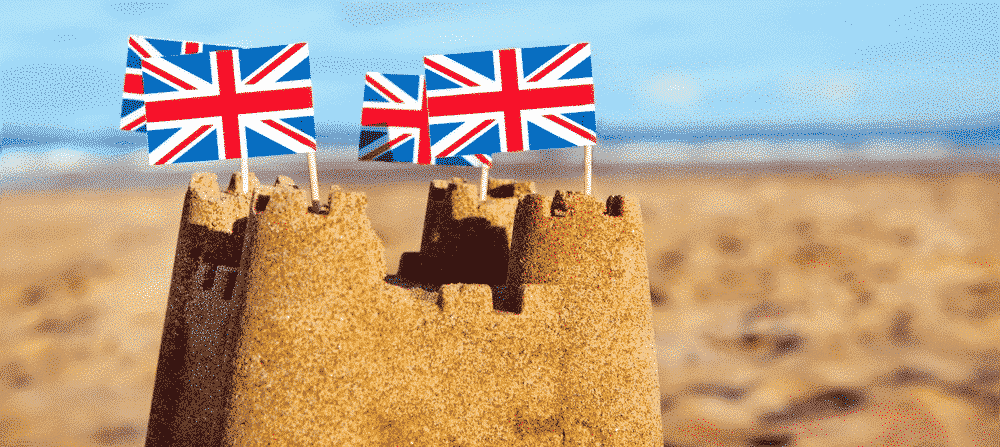 A guide to holidays and Brexit: British sandcastle on beach