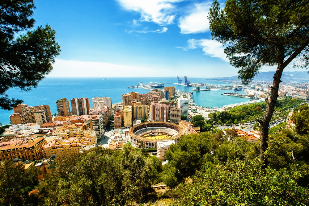 The most popular Spanish cities for holidaymakers this year: View of the city of Malaga, with the bullring and the Port