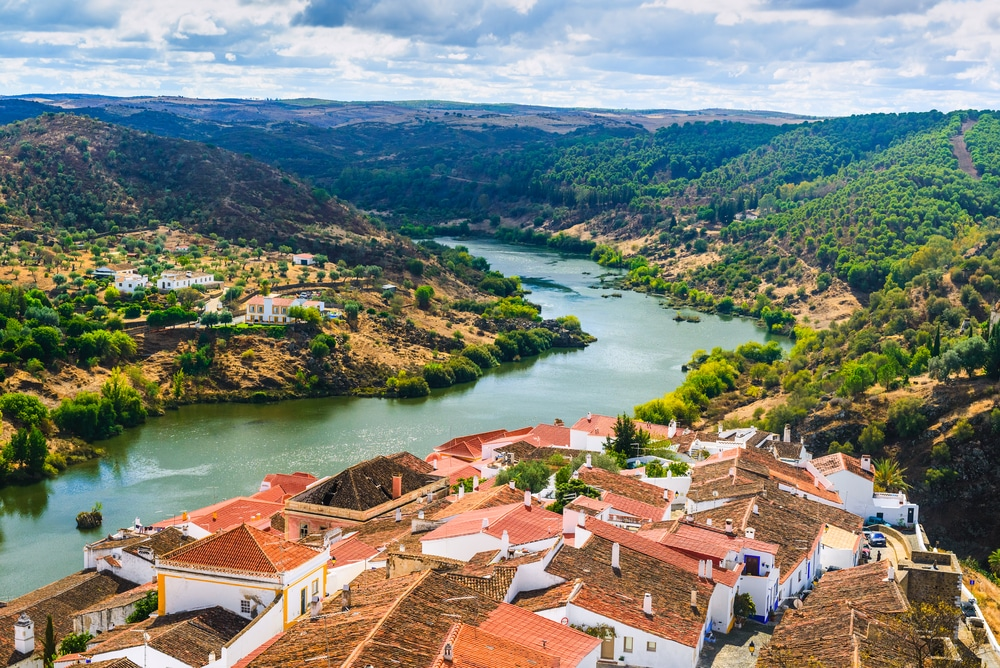 Top 5 wine tours in Europe: The river Guadiana and the village of Mertola. Alentejo Region. Portugal