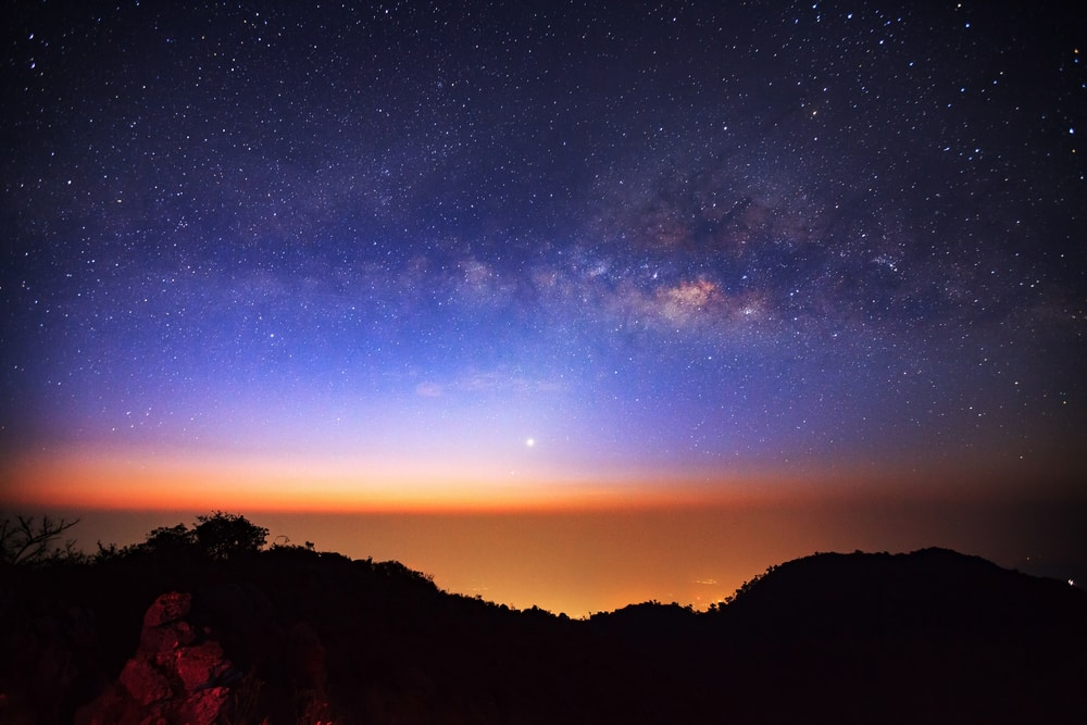 Unconventional travel ideas for all the family in 2019: stars of Milky Way Galaxy at Doi Luang Chiang Dao before sunrise