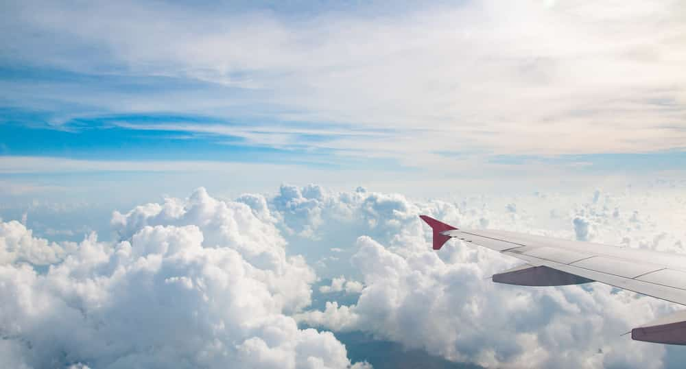 Can I Fly After a Stroke? View from plane window of the sky