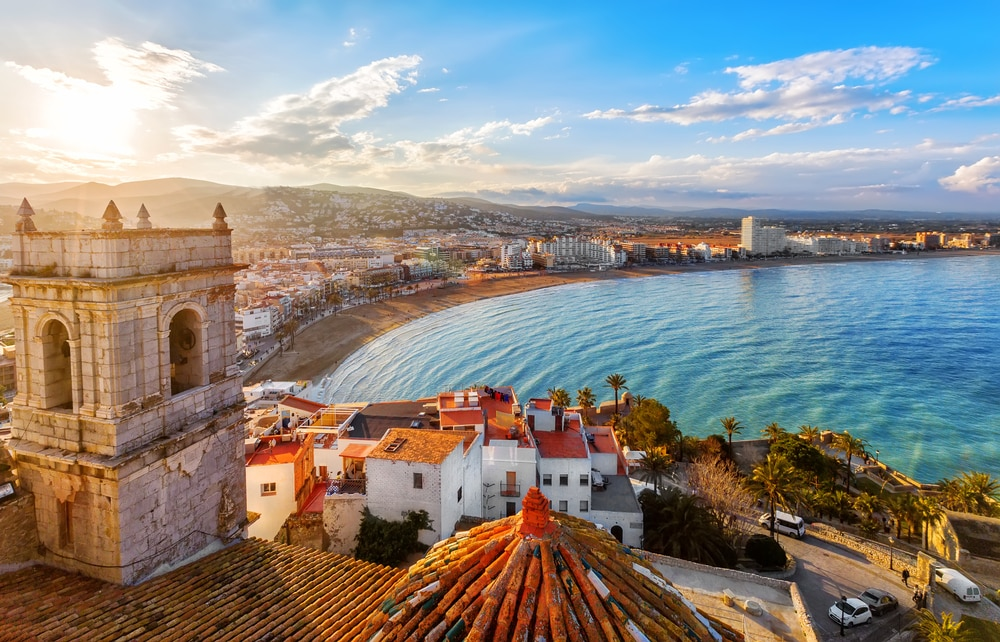 The most popular Spanish cities for holidaymakers this year: View on Peniscola from the top of Pope Luna's Castle , Valencia, Spain