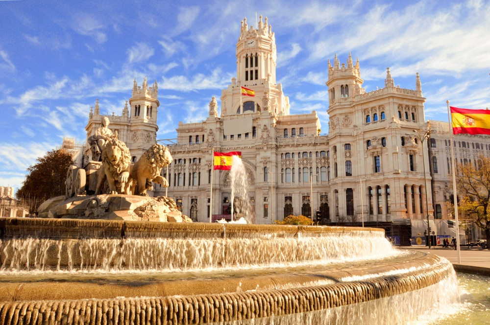 The most popular Spanish cities for holidaymakers this year: The famous Cibeles fountain in Madrid, Spain